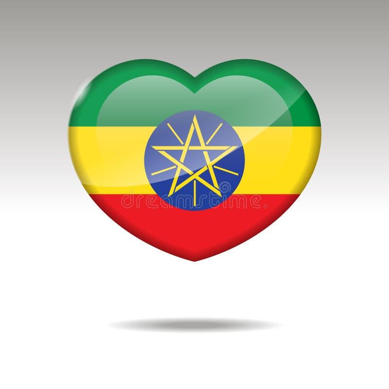 爱埃塞俄比亚标志 心脏旗子象 皇族释放例证