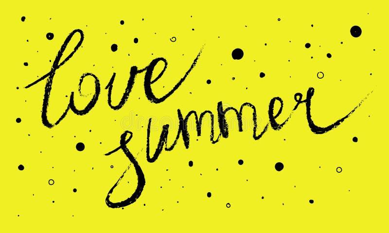 爱夏天 在中立背景的逗人喜爱的动画片夏天题字与元素 向量例证