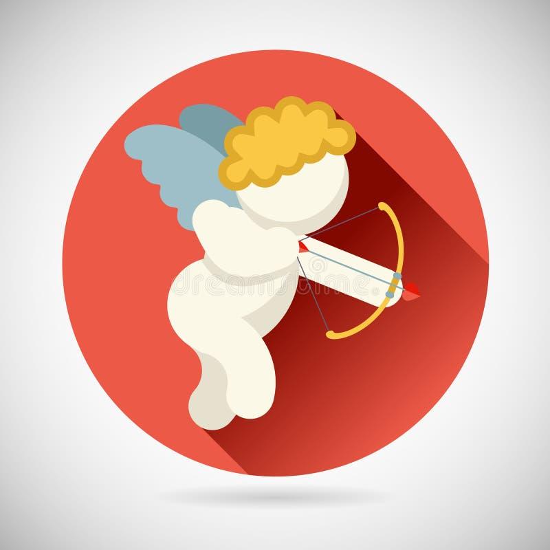 爱天使标志有弓的男婴天使  皇族释放例证