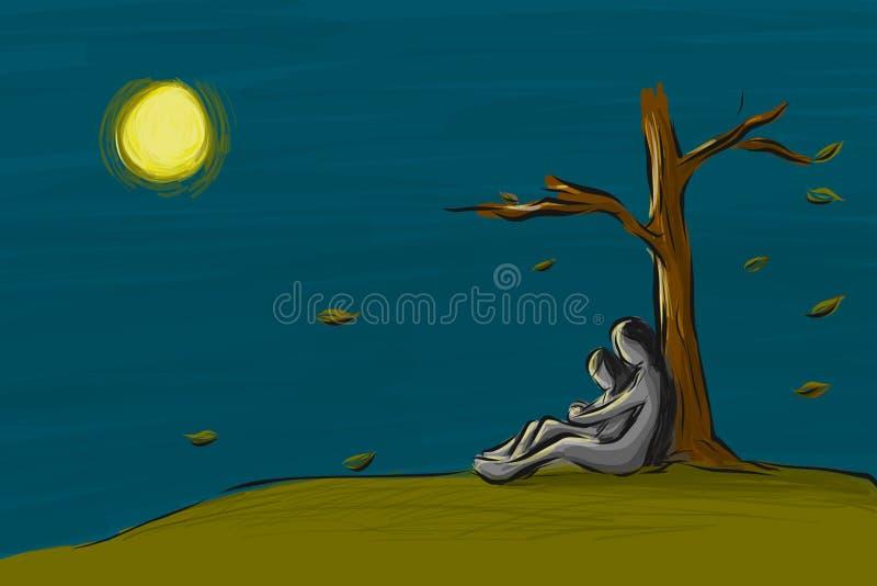 爱夫妇一起坐在秋季的树下在晚上 向量例证