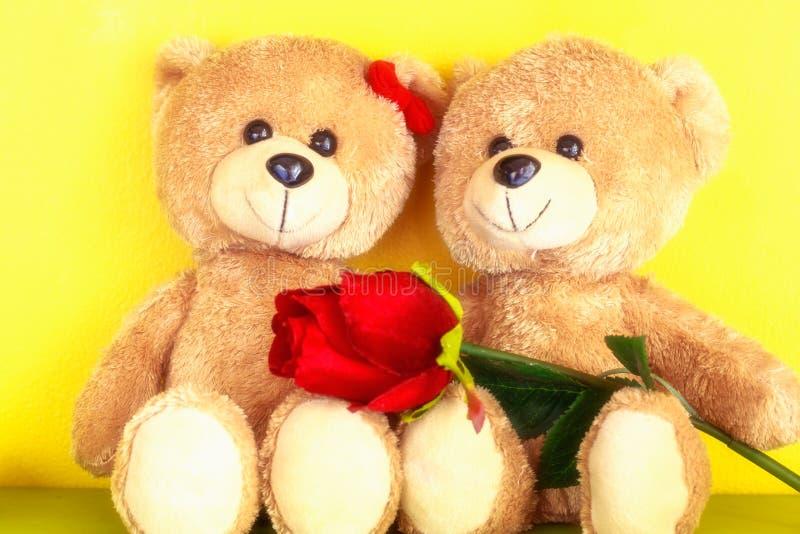 爱夫妇与红色玫瑰的玩具熊的概念华伦泰的 库存图片