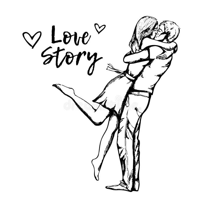 爱夫妇亲吻 男孩和女孩在情人节 E 库存例证