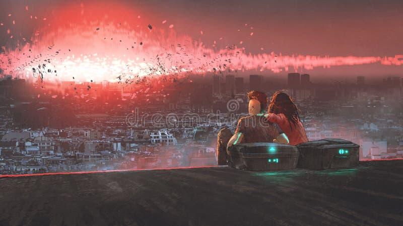 爱夫妇和最后天地球上 图库摄影