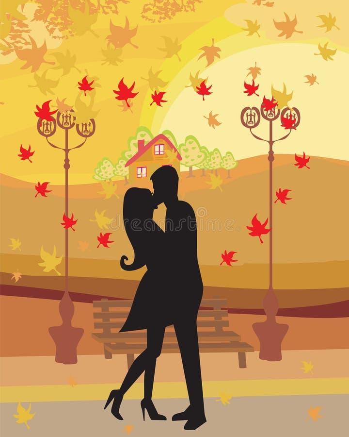 爱夫妇在秋天 向量例证