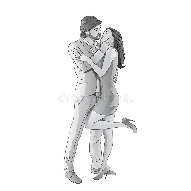 爱夫妇浪漫亲吻的日期,时尚人和 库存例证