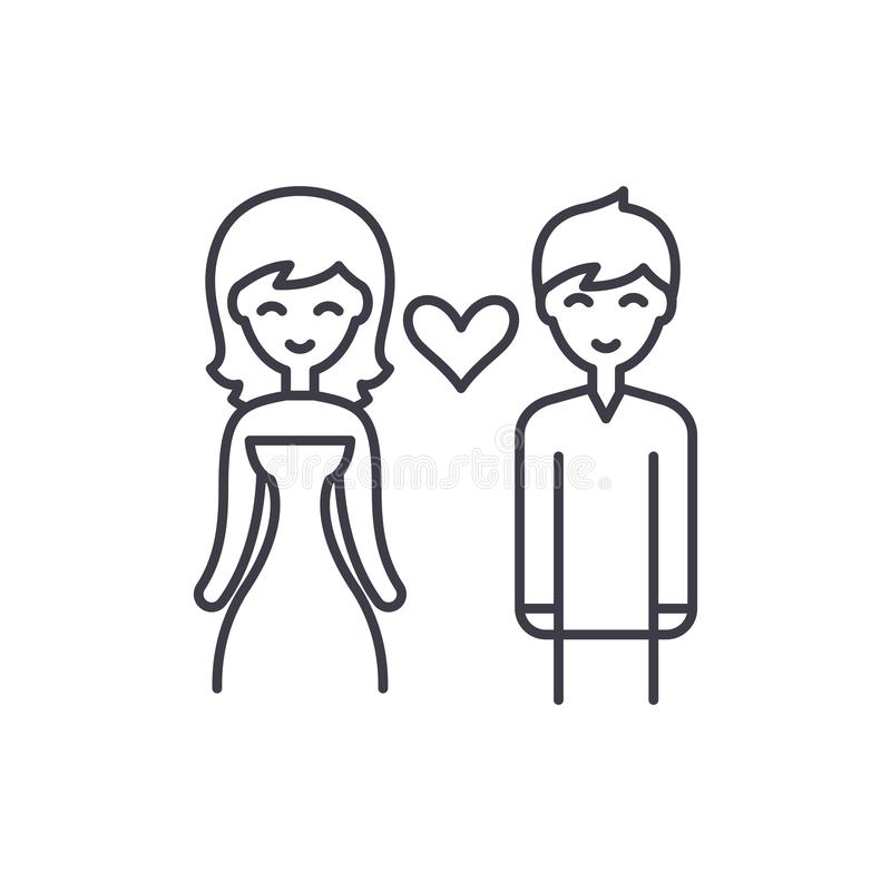 爱夫妇线象概念 爱夫妇导航线性例证,标志,标志 向量例证