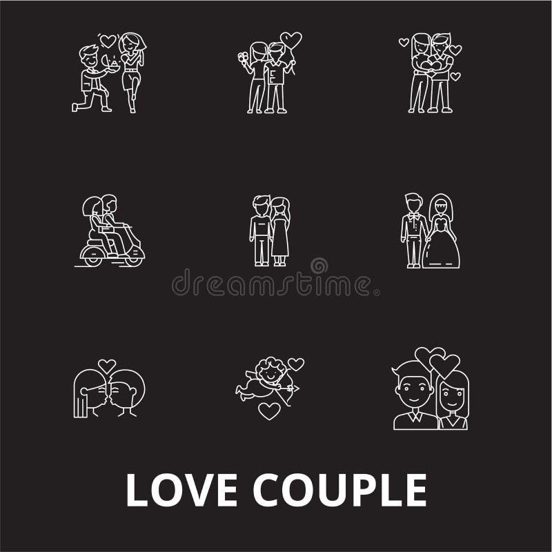 爱夫妇编辑可能的线象导航在黑背景的集合 爱夫妇白色概述例证,标志,标志 皇族释放例证