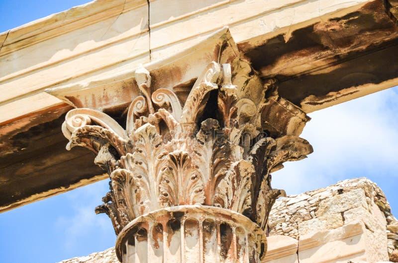 爱奥尼亚人柱子,细节,石柱子,建筑风格 库存照片