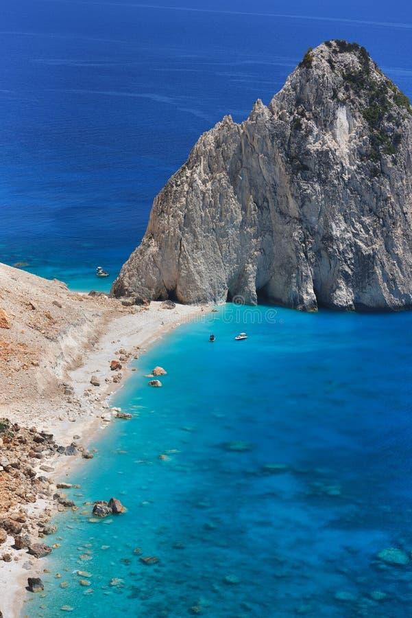 爱奥尼亚海美好的lanscape从Keri,扎金索斯海岛,希腊的 假期概念背景 免版税图库摄影