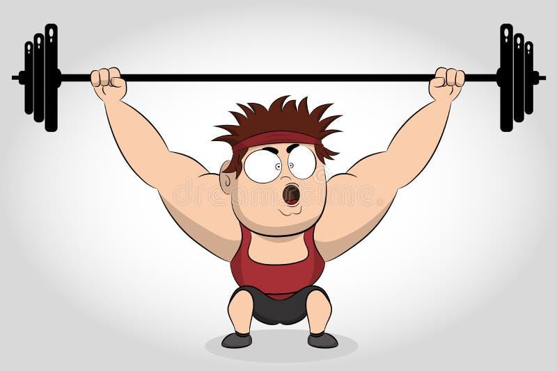 爱好健美者举的杠铃 举重运动员 举在他的头的坚强的爱好健美者运动员重量级的杠铃 向量例证