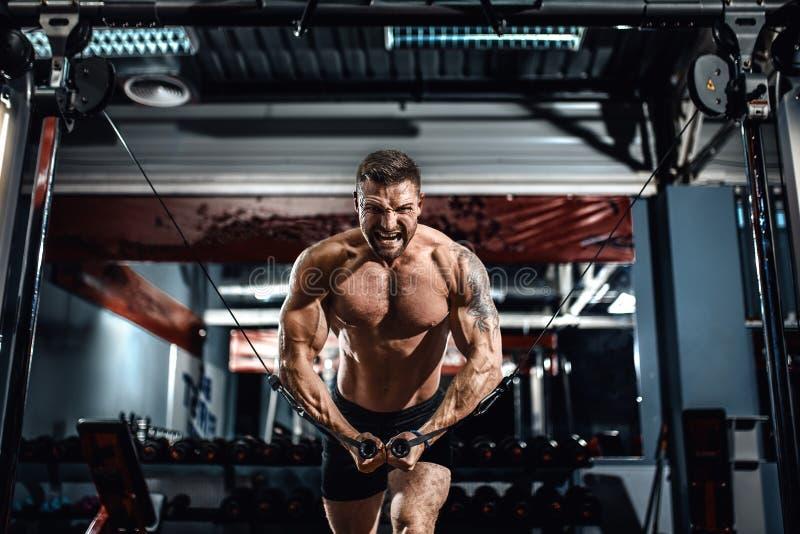 爱好健美者在他的与缆绳天桥的胸口工作在健身房 免版税库存图片