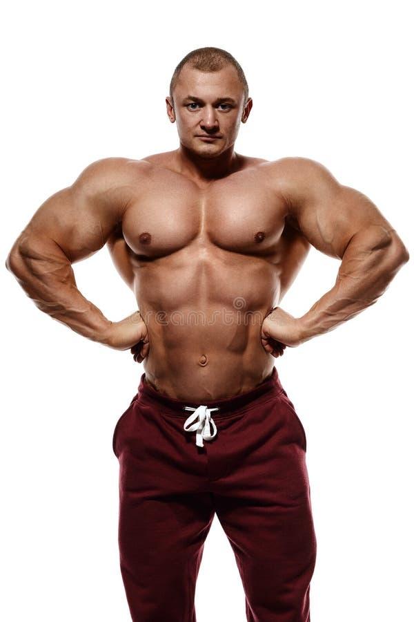 爱好健美者摆在 英俊的力量运动人男性 健身mu 免版税库存照片