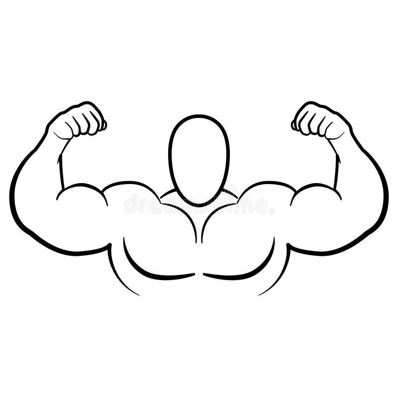 爱好健美者肌肉导电线武装传染媒介例证 屈曲手传染媒介象的强的强壮男子的二头肌健身房隔绝在白色 皇族释放例证