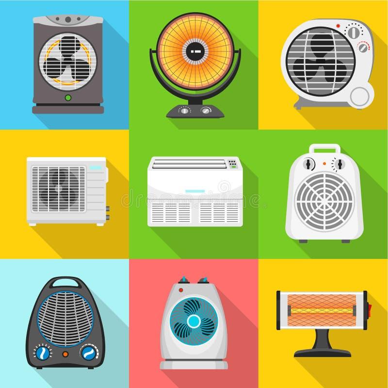 爱好者加热器象集合,平的样式 向量例证