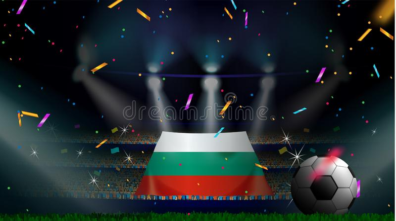 爱好者在有五彩纸屑的足球场内拿着保加利亚的旗子在人群观众中剪影的庆祝足球比赛 皇族释放例证