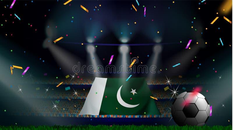 爱好者在有五彩纸屑的足球场内拿着巴基斯坦的旗子在人群观众中剪影的庆祝足球比赛 库存例证