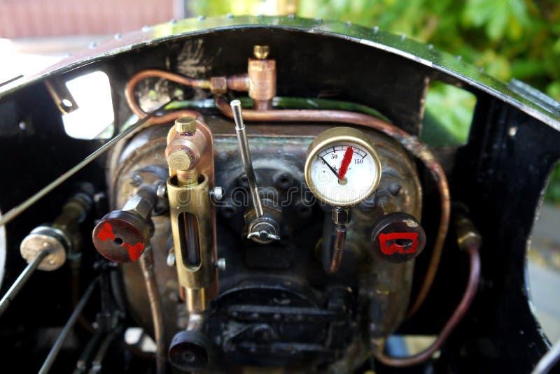 爱好:式样蒸汽火车引擎小室细节 图库摄影