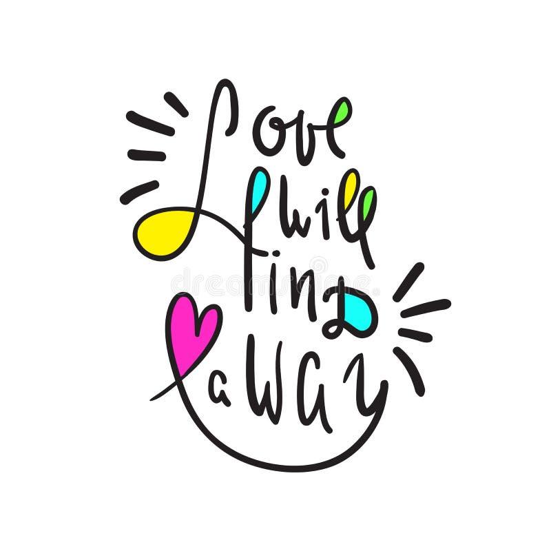 爱将发现一个方式-启发和诱导行情 手拉的美好的字法 激动人心的海报的, T恤杉印刷品, 库存例证
