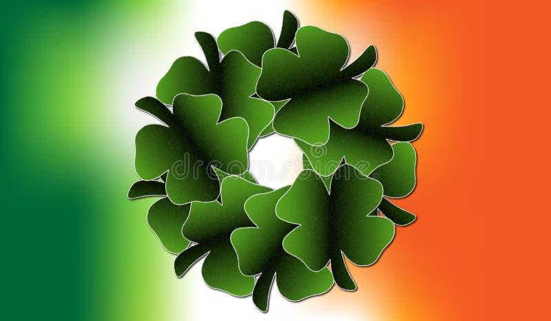 爱尔兰三叶草叶子花圈 免版税图库摄影