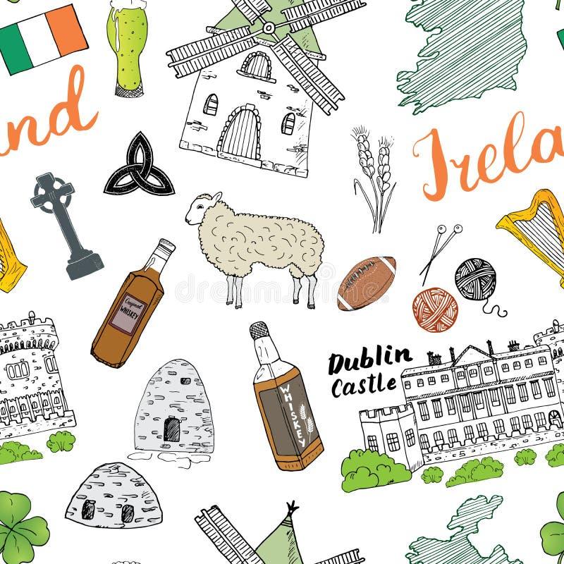 爱尔兰剪影乱画无缝的样式 与爱尔兰,凯尔特十字架,城堡,三叶草,凯尔特竖琴的旗子和地图的爱尔兰元素, 库存例证