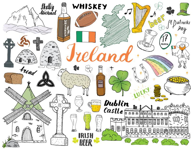 爱尔兰剪影乱画 与爱尔兰,凯尔特十字架,城堡,三叶草,凯尔特竖琴, M的旗子和地图的手拉的爱尔兰元素集 向量例证