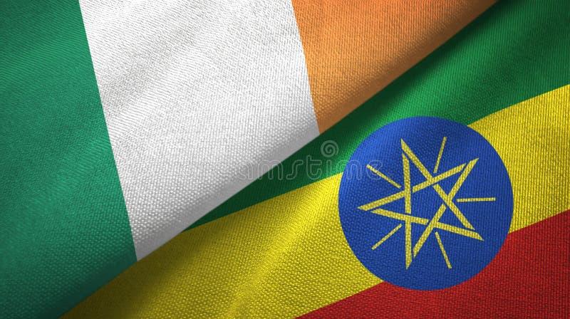 爱尔兰和埃塞俄比亚两旗子纺织品布料,织品纹理 皇族释放例证