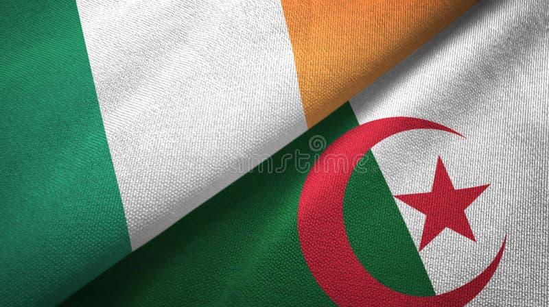 爱尔兰和阿尔及利亚两旗子纺织品布料,织品纹理 皇族释放例证