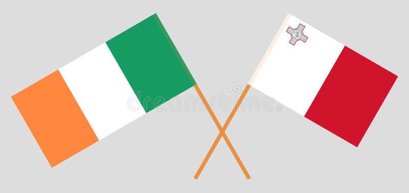 爱尔兰和马耳他 爱尔兰和马尔他旗子 E r ?? 向量例证