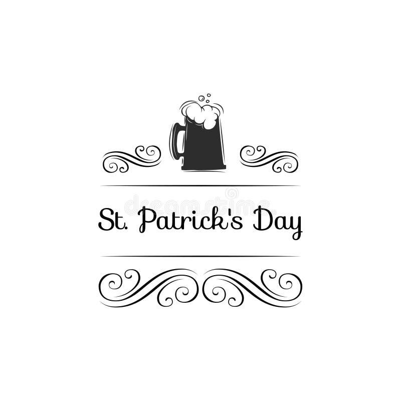 爱尔兰啤酒 圣帕特里克s天 漩涡,金银细丝工的装饰 也corel凹道例证向量 向量例证