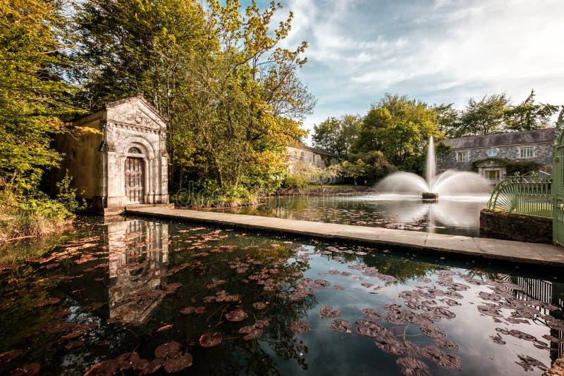 爱尔兰基尔代尔的里昂克利夫喷泉。Cliff at Lyons, Celbridge, Kildare,爱尔兰— — 2019å¹´5月13日。瑞安航 免版税库存图片