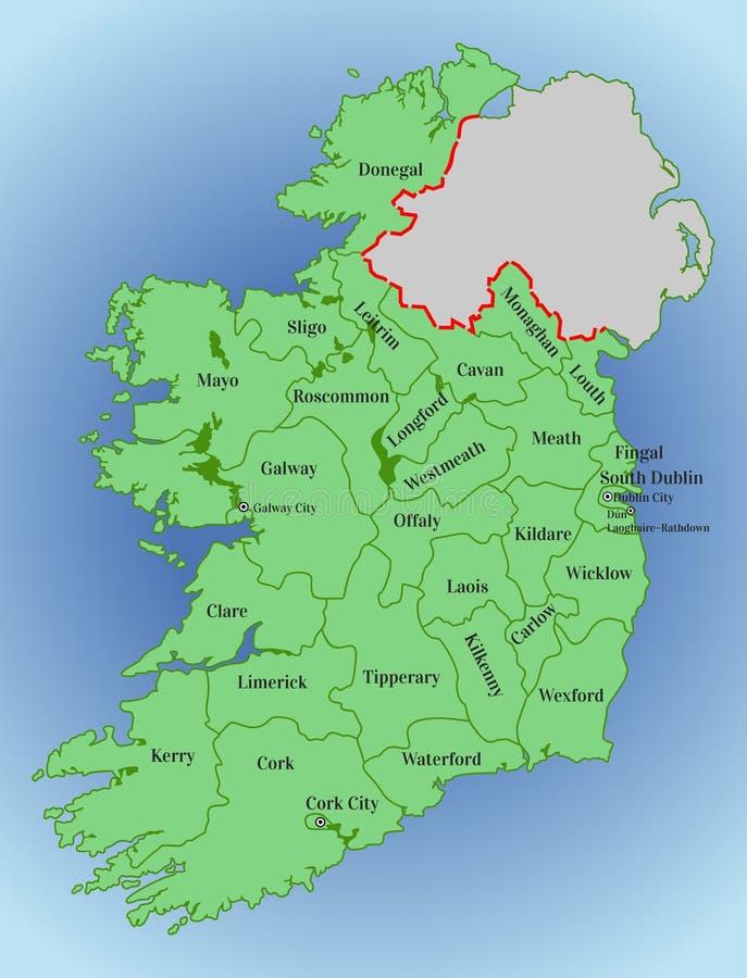 爱尔兰的传染媒介地图 大教堂基督教会都伯林大厅爱尔兰共和国权利宗教会议查阅 爱尔兰的地图有分裂的到县里 向量例证