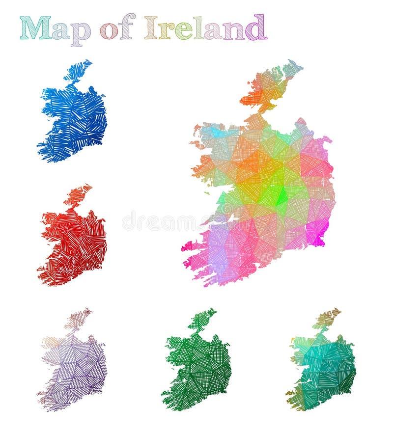 爱尔兰的手拉的地图 向量例证