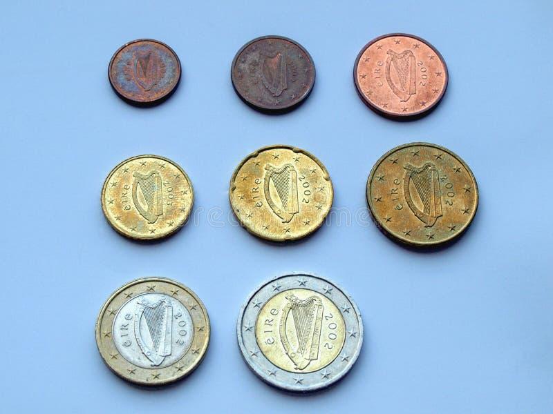 从爱尔兰的欧洲硬币 免版税库存图片