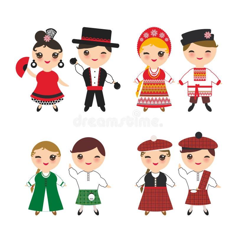 爱尔兰苏格兰男子斯拉夫的西班牙佛拉明柯舞曲舞蹈家男孩和女孩全国服装和帽子的 动画片孩子在传统苏格兰 向量例证
