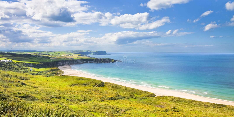 爱尔兰风景在爱尔兰北部安特里姆郡-英国 免版税图库摄影