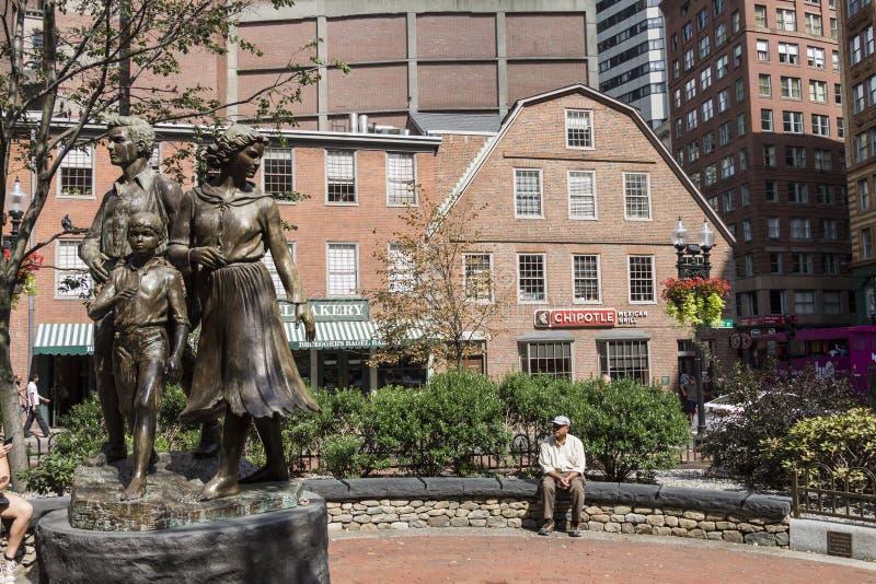 爱尔兰饥荒纪念波士顿马萨诸塞 免版税库存照片