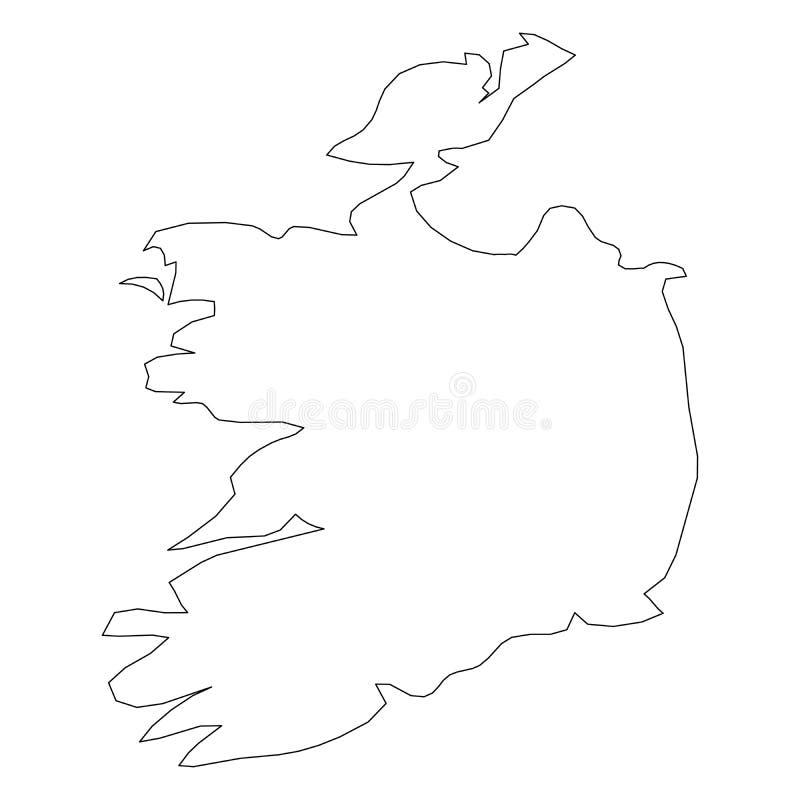 爱尔兰-国家区域坚实黑概述边界地图  简单的平的传染媒介例证 向量例证