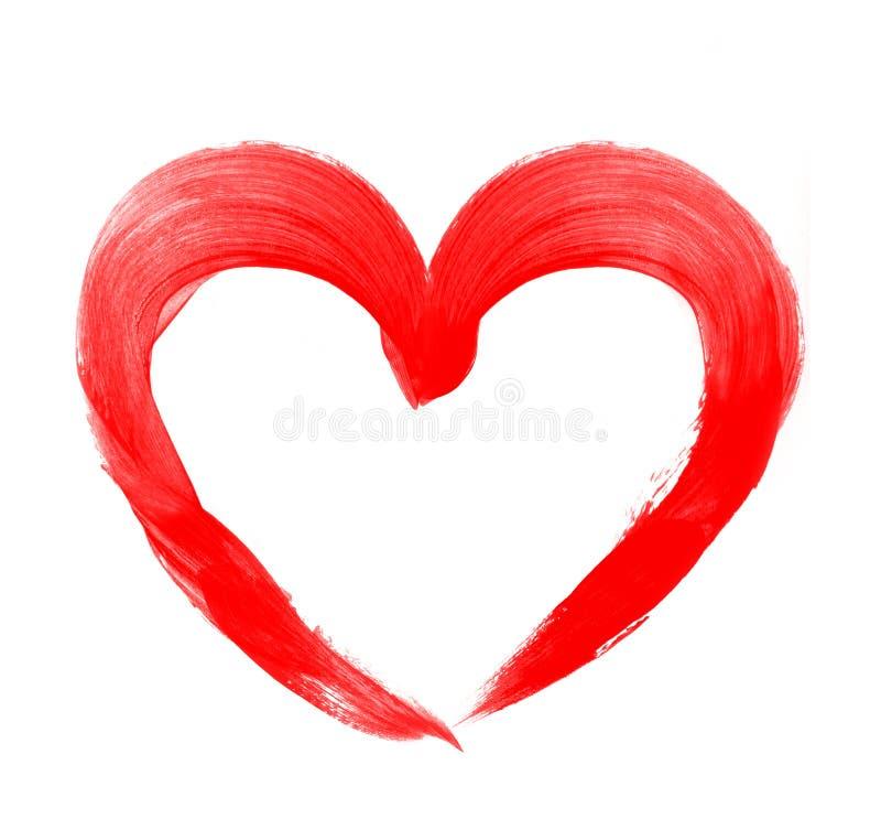 爱形状心脏画与在白色的红色油漆 库存图片