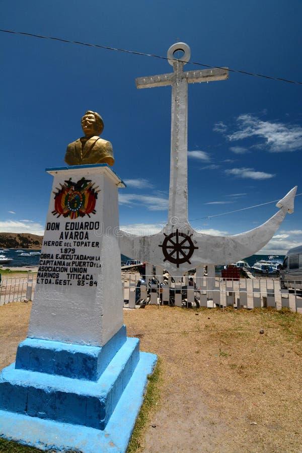爱德华多Avaroa纪念碑 copacabana 湖Titicaca 流星锤 库存照片