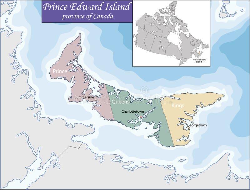 爱德华海岛映射王子 向量例证
