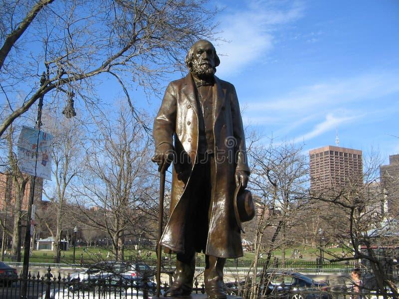 爱德华・埃弗里特硬朗的雕塑,波士顿公园,波士顿,马萨诸塞,美国 库存图片