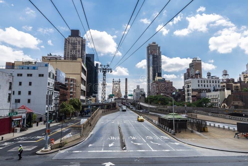 爱德科克皇后区大桥在曼哈顿,纽约,美国 免版税图库摄影
