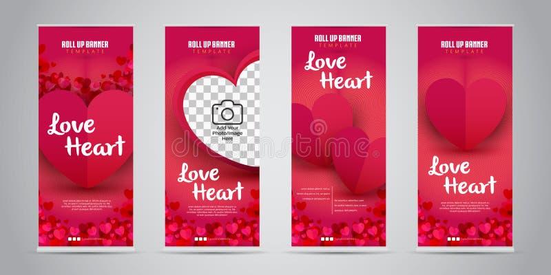 爱心脏事务卷起与4个不同的设计传染媒介例证的横幅 皇族释放例证