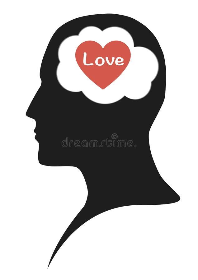 爱心脏在人脑里 库存照片