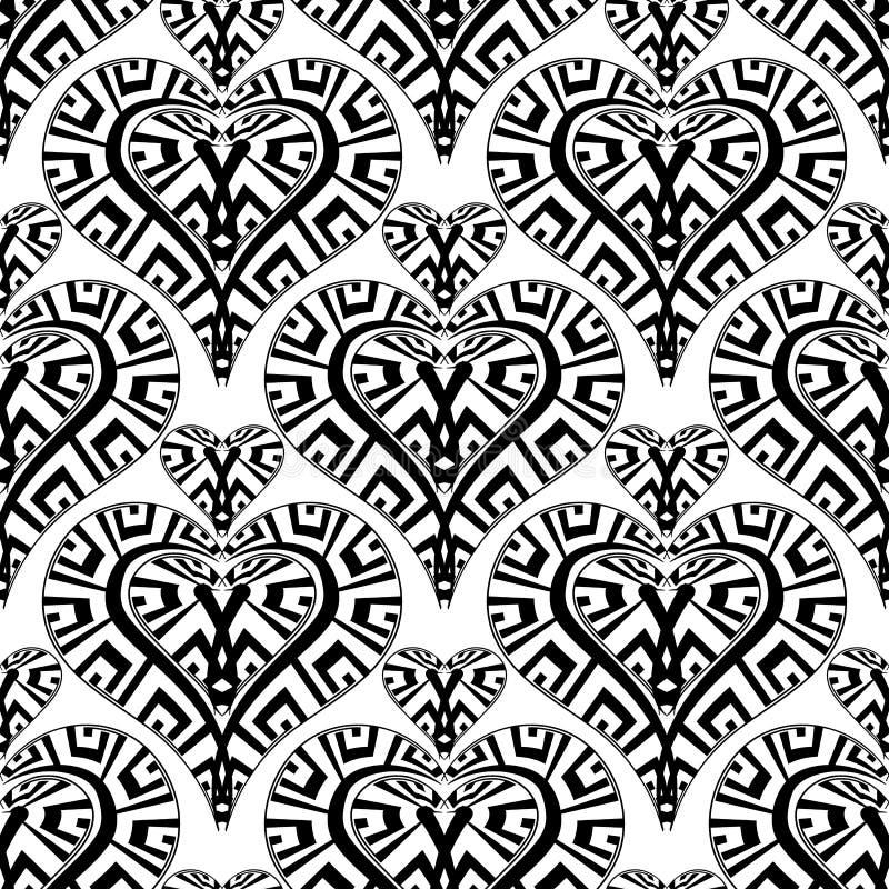 爱心脏导航无缝的样式 黑白被仿造的爱背景 手拉的乱画希腊钥匙蜿蜒部族 库存例证