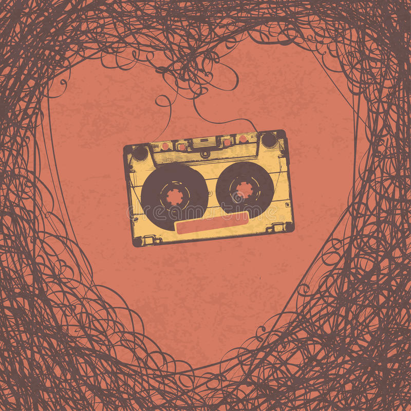 爱恋的减速火箭的音乐减速火箭的海报设计 皇族释放例证