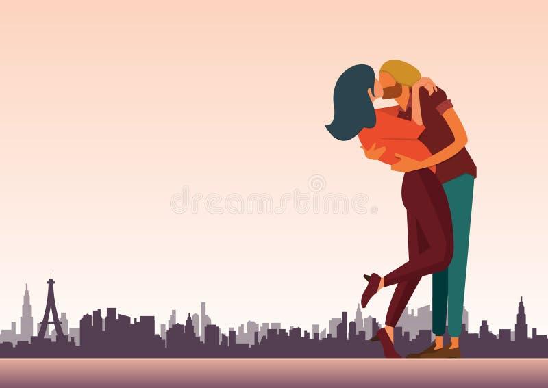 爱恋的夫妇为情人节和婚姻的装饰亲吻 皇族释放例证