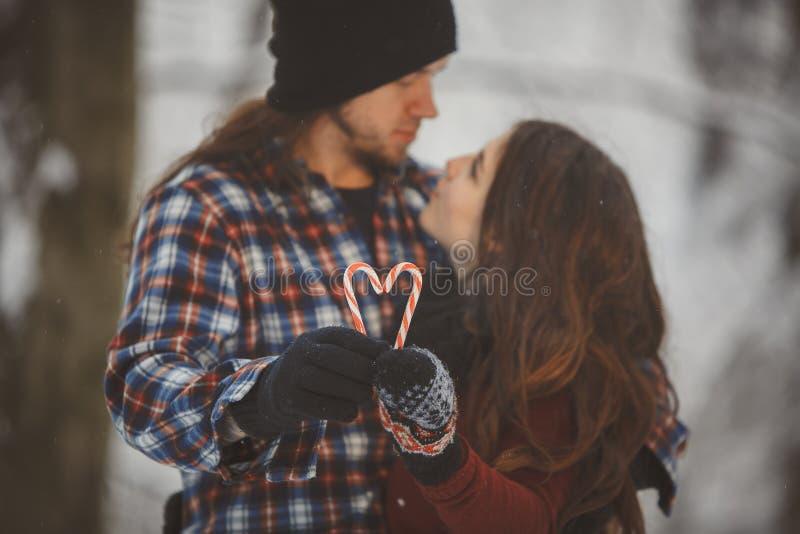 爱恋的夫妇在多雪的冬天森林里 免版税库存照片