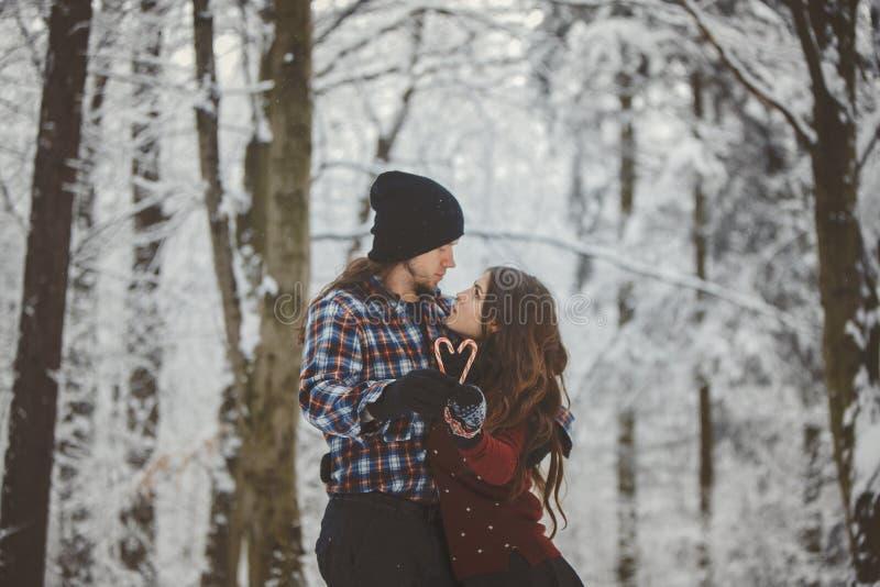 爱恋的夫妇在多雪的冬天森林里 免版税库存图片