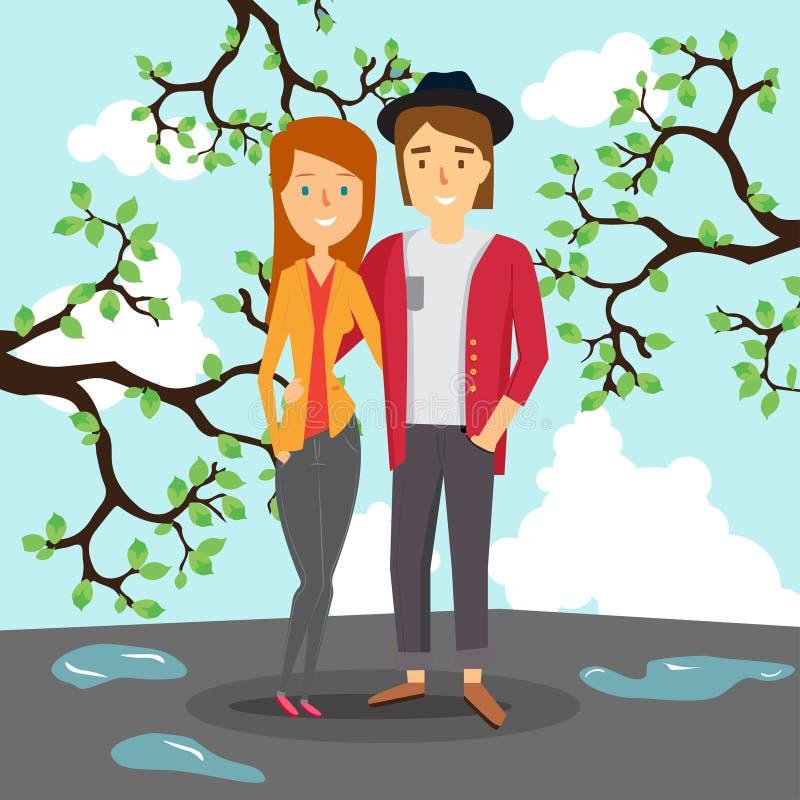 爱恋的夫妇在水坑和开花的树的背景的春天 皇族释放例证